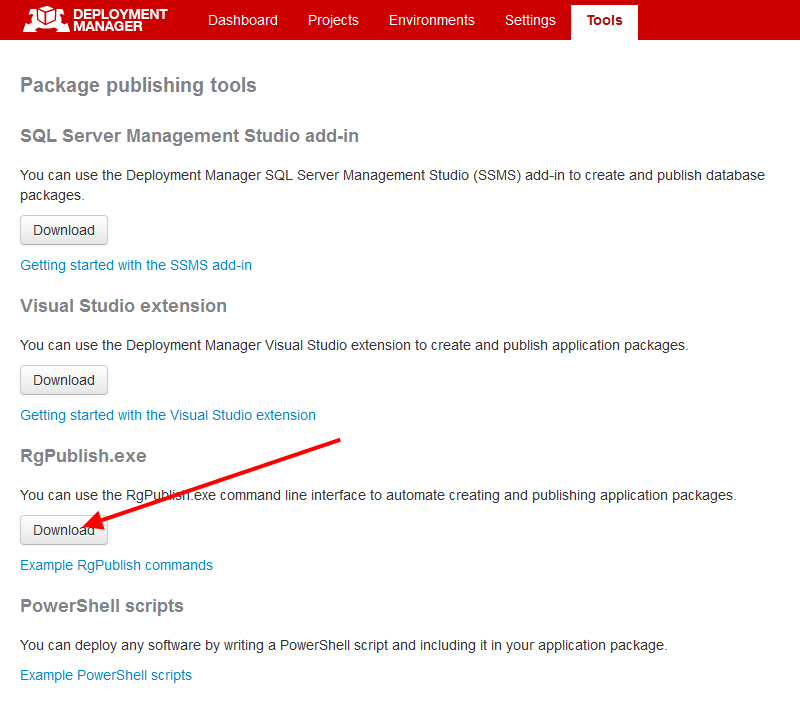Creating and publishing application packages using RgPublish