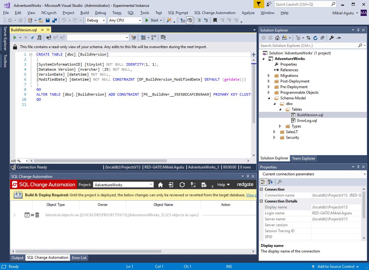 Offline Schema Model - SQL Change Automation 3 - Product