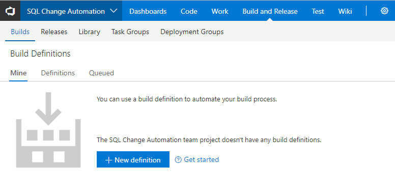 Use the Azure DevOps Build extension with SQL Source Control Project