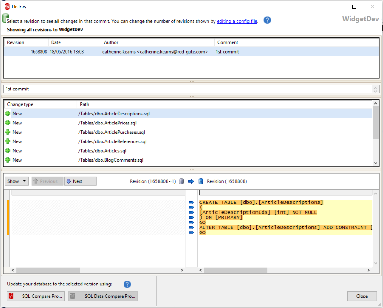 View source control history - SQL Source Control 7 - Product