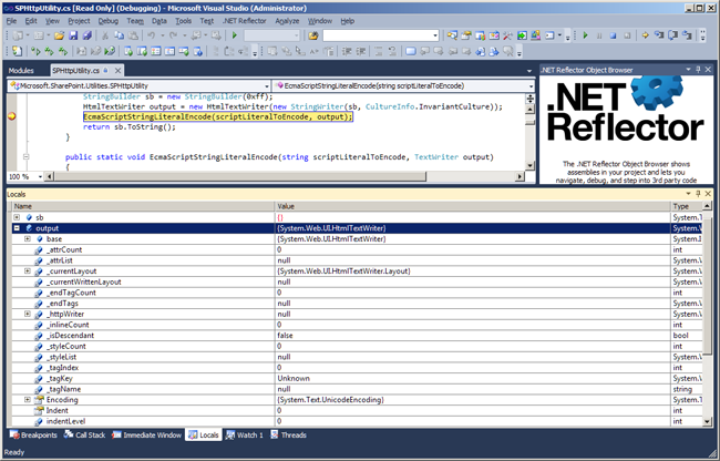 Debugging into SharePoint and seeing the locals -  NET