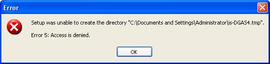 Error 5 Access is denied message displayed when installing SQL