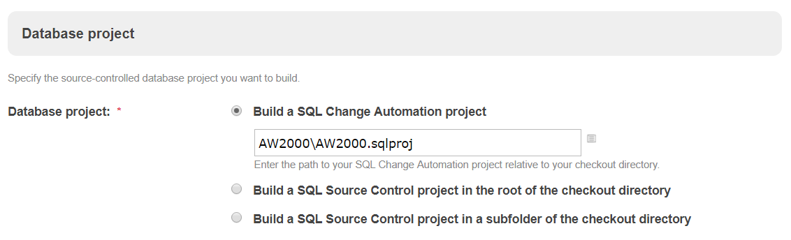 Use the TeamCity plugin with a SQL Change Automation Project