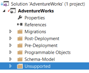 A SQL Change Automation Project with a folder named 'Unsupported'