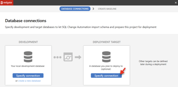 A screenshot of where a target database may be specified in the SQL Change Automation setup wizard