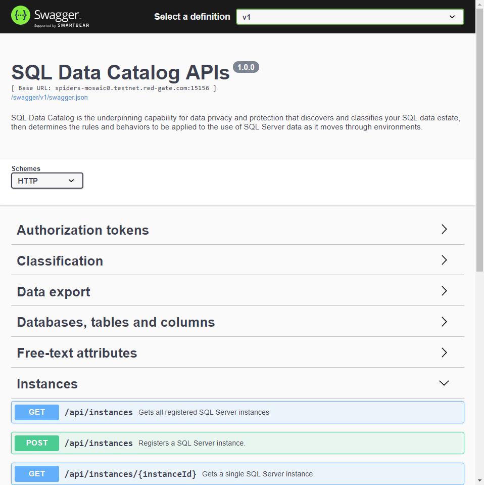 Exploring the REST API - SQL Data Catalog - Product