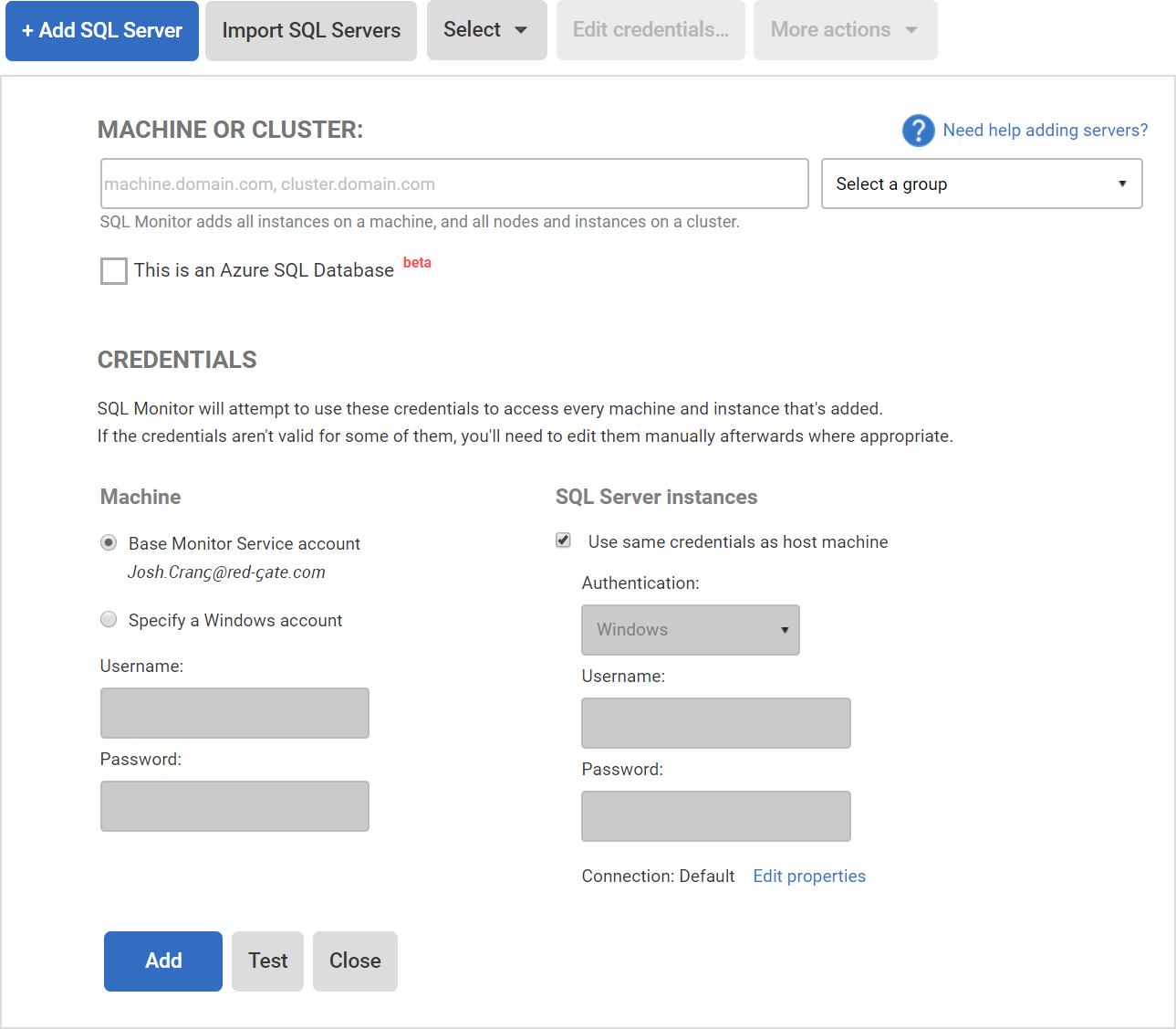 Adding servers to monitor - SQL Monitor 7 - Product Documentation