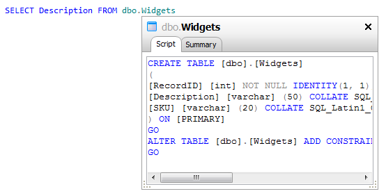 Using the object definition box and object tooltips - SQL